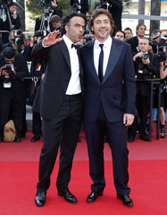Director Inarritu arrives with cast member Bardem on the red carpet for the screening of his film in competition during the 63rd Cannes Film Festival