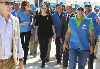 The U.N. refugee agency's special envoy, actress Angelina Jolie, arrives at Al Zaatri refugee camp in Mafraq