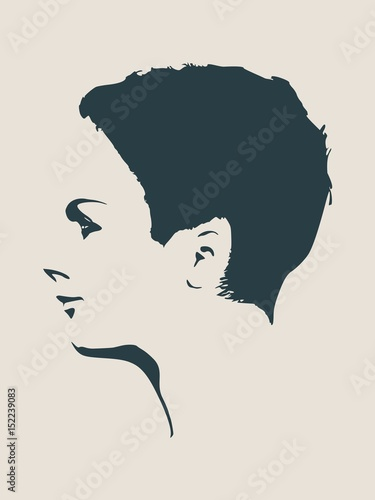 face side view elegant silhouette of a female head vector illustration short hair