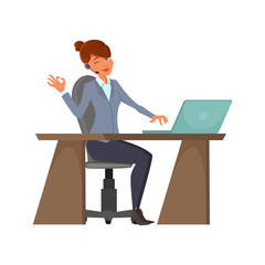 Cartoon call-center operator. A cheerful Female with a wireless headset is sitting at the workplace. A woman is working behind a laptop. Charecter design. Phone service employees
