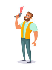 Warehouse employee holds a barcode scanner in his hand. Concept character design. Vector illustration.