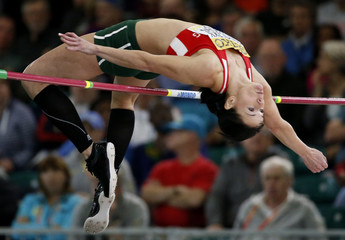 Farkas of Hungary competes in the high jump portion of the women's pentathlon at the IAAF World Indoor Athletics Championships in Portland