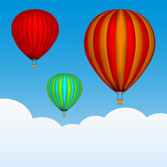 Hot air balloons in the sky. Background with clouds. Colored picture. Vector