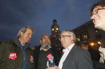 Spain's biggest labour union Comisiones Obreras General Secretary Fernandez Toxo and General Workers Union leader Mendez take part in a meeting at Madrid's Puerta del Sol square