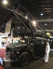 Visitor attend Milipol an international internal security and police equipment exhibition in Doha