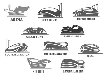 Vector icons of football arena or sport stadium
