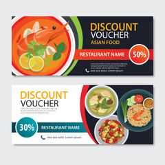 Discount voucher asian food template design. Thailand set