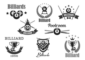 Vector billiards poolroom sport tournament badges