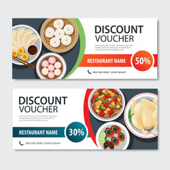 Discount voucher asian food template design. Chinese set