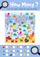Counting game of ocean animals for preschool kids activity worksheet layout in A4 colorful printable version. Vector Illustration.