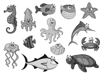 Fishes and ocean animals cartoon vector icons
