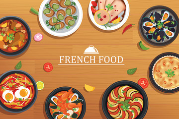 french food on a top view wooden table background