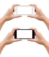 Close-up image of two human hands holding black and white blank screen smartphone in take a photo gesture isolate on white background with clipping pat