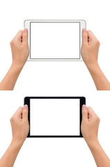 Close-up image of two human hands holding black and white blank screen digital tablet in take a photo gesture isolate on white background with clipping path