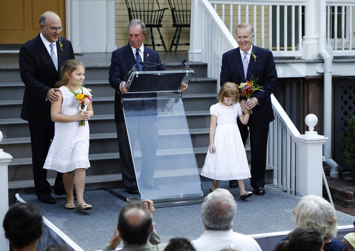 New York City Mayor Bloomberg presides over the wedding of Mintz, New York City's consumer affairs commissioner, and Feinblatt, a chief adviser to the mayor in New York