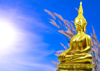 Buddhism statue ,field of grass and sun in morning