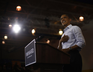 U.S. President Barack Obama is pictured during a campaign rally at Phoebus High School in Hampton