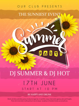 vector illustration of summer party poster with triangle frame and sunflower flowers and hand lettering text - summer