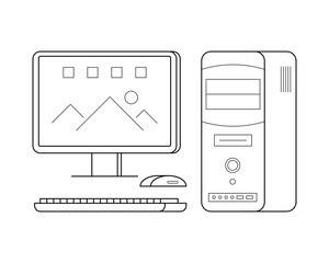 Personal computer line art, mouse, keyboard, processor, simple gadget icon for web application, outline vector pictogram isolated on a white background, desktop device