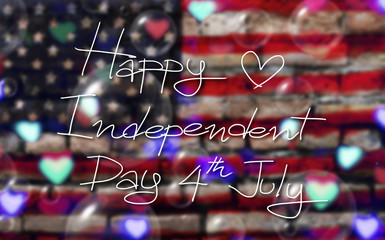 Fourth of July. Happy Independence Day of the USA on America flag background poster with heart bokeh