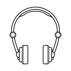 Headphones line art, simple gadget icon for web application, outline vector pictogram isolated on a white background, listening youth devices to enjoy music everywhere
