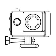 Action camera line art, simple gadget icon for web application, outline vector pictogram isolated on a white background, digital camera simple to operate to record adventures