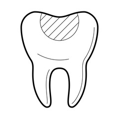 Tooth with filling icon, restore a tooth damaged by decay, medical clinic poster, professional work, stomatology information pictogram, health concept. Vector illustration