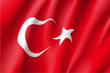 Turkey national flag. Patriotic symbol in official country colors. Illustration of Asian state flag. Vector icon