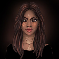 African American pretty girl. Raster Illustration of Black Woman with glossy lips. Great for avatars.