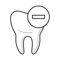 Tooth icon, negative characteristics, bad and wrong for teeth educational poster, medical clinic professional treatment image, stomatology pictogram, health concept. Vector illustration