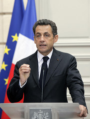 France's President Nicolas Sarkozy delivers his speech on the French deficit at the Elysee Palace in Paris