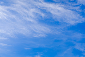 The summer sky is blue with cirrus clouds.