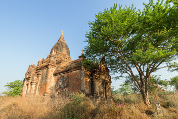 Exterior of an old and untitled temple (historic ruin 386) in Bagan, Myanmar (Burma).