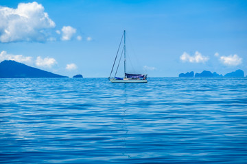Sailing tourists in the Andaman Sea. The Indian Ocean