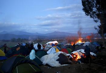 Stranded migrants at the Greek-Macedonian border