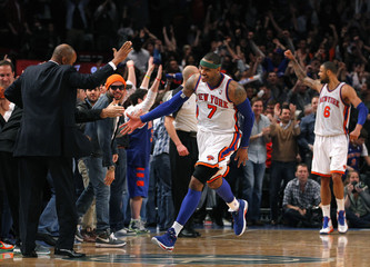 New York Knicks forward Carmelo Anthony celebrate after defeating the Chicago Bulls in their NBA basketball game at Madison Square Garden in New York