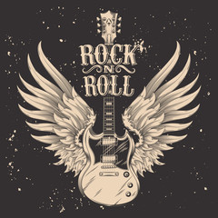 Vector monochrome illustration of an electric guitar with wings. Design element for the advertising poster of the rock festival, sketch for the tattoo, print for the t-shirts