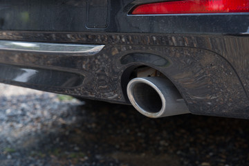Close-up of a car exhaust pipe