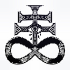 The Satanic Cross with evil eye, demon Leviathan.