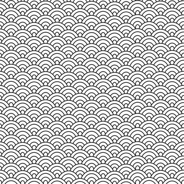 Geometric seamless pattern on Japanese motif. White and black vector texture. Abstract waves.