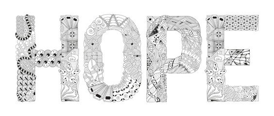 Word HOPE for coloring. Vector decorative zentangle object