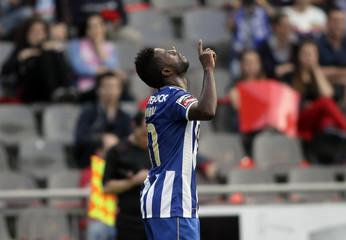 Porto's Varela celebrates his goal against Braga during their Portuguese Premier League soccer match at the municipal stadium in Braga