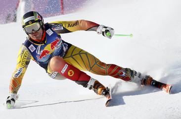 Hudec of Canada leans into a turn during the second practice run for the men's Alpine Skiing World Cup Downhill race in Kitzbuehel