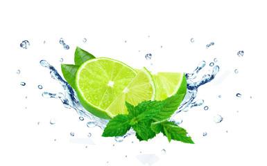 Lime splash isolated