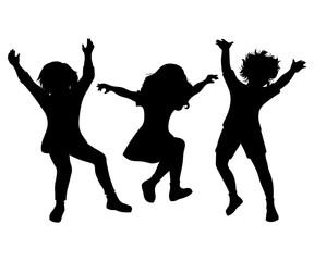 Children jumping. Black silhouettes on white background. Vector illustration
