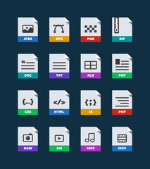 Flat colorful vector file format icons set