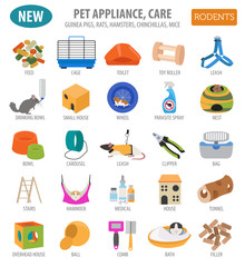 Pet appliance icon set flat style isolated on white. Rodents care collection. Create own infographic about guinea pig, rat, hamster, chinchilla, mouse, rabbit