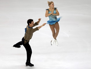 Julianne Seguin and Charlie Bilodeau of Canada compete during the pairs short programme at the ISU Bompard Trophy figure skating competition in Bordeaux, southwestern France