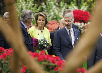"""Belgium's Crown Prince Philippe and Princess Mathilde visit the """"Floralies/Floralien"""" exhibition in Ghent"""