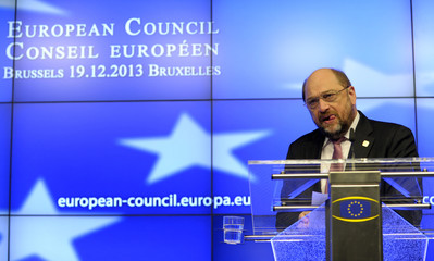 Schulz holds a news conference in Brussels
